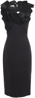 Victoria Beckham Appliqued Chiffon-paneled Silk And Wool-blend Dress