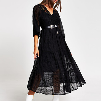 River Island Black lace long sleeve midi smock dress
