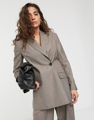 ASOS DESIGN wrap suit blazer in gray pinstripe