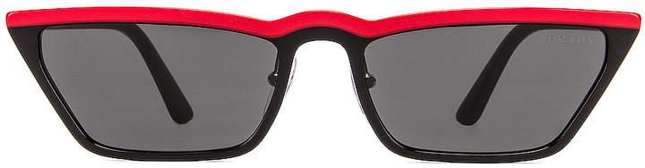 Prada Acetate Low Angle Cut Sunglasses in Black & Red | FWRD