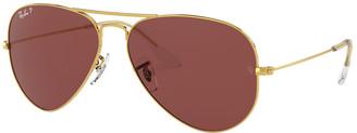 Ray-Ban Men's Metal Polarized Aviator Sunglasses