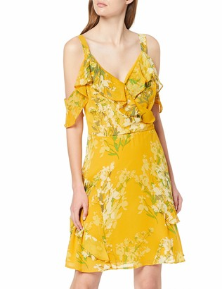 Dorothy Perkins Women's Floral Cold Shoulder Chiffon FIT and Flare Dress