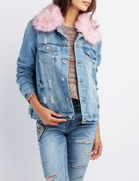 Charlotte Russe Faux Fur-Trim Denim Jacket