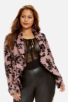 Fashion to Figure Scarlet Velvet Flocked Cascade Blazer