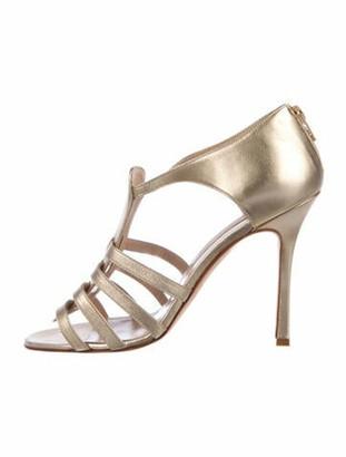 Manolo Blahnik Leather Cutout Accent T-Strap Sandals Gold