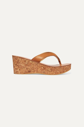 K Jacques St Tropez Diorite Leather Wedge Platform Sandals - Tan
