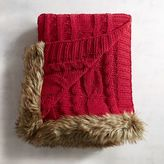 Pier 1 Imports Red Cable-Knit Faux Fur Trim Throw