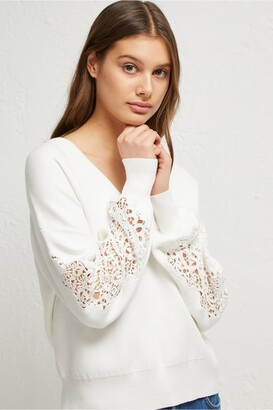 French Connection Severine Lace Knits Balloon Sleeve Jumper