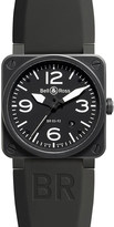Bell & Ross BR0392-BL-CE heritage aviation ceramic and leather watch