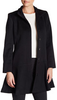 Sofia Cashmere Funnel Neck Flounce Wool Blend Coat