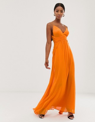 Asos Design DESIGN cami maxi dress with soft layered skirt and ruched bodice-Orange