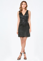Bebe Faux Leather Eyelet Dress