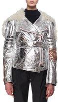 Proenza Schouler Metallic Leather & Shearling Moto Jacket, Silver