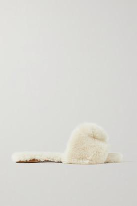 Aquazzura Foxy Pompom-embellished Shearling Slides - Cream