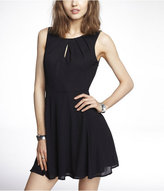 Express Pleated Keyhole Fit And Flare Dress