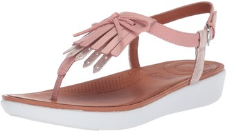 FitFlop Women's TIA Fringe Toe-Thong Sandals Flat