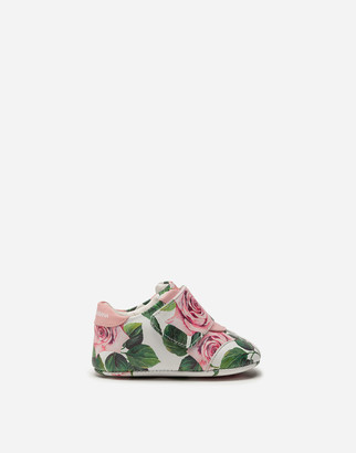 Dolce & Gabbana Sneakers In Nappa Leather With Tropical Rose Print