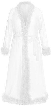 City Chic Marabou Trim Long Robe - ivory