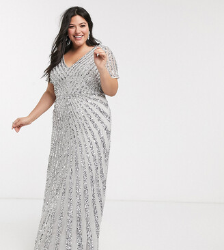 Maya plunge front all over embellished maxi dress in silver