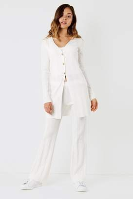 Micha Lounge Knitted cardigan in wide rib white