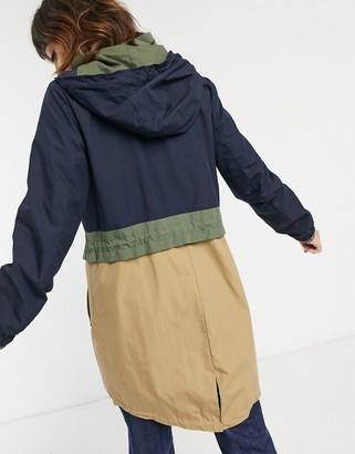 Esprit colour block parka coat in navy