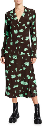 Ganni Floral Printed Crepe Midi Shirtdress