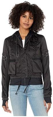 Blanc Noir Skyfall Bomber Jacket (Black/Black) Women's Clothing