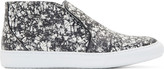 Pierre Hardy Black & White Snakeskin Slip-On Sneakers