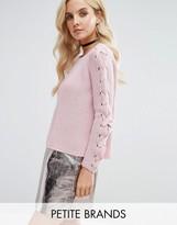 Missguided Petite Miss Selfridge Petite Lattice Sleeve Sweater