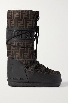 Fendi Printed Shell And Rubber Snow Boots - Brown