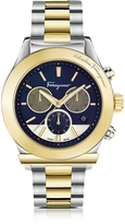 Salvatore Ferragamo 1898 Stainless Steel and Gold IP Men's Chronograph Watch w/Blue Dial