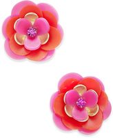 Kate Spade Gold-Tone Crystal Accented Flower Stud Earrings