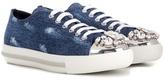 Miu Miu Crystal-embellished denim sneakers