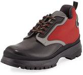 Prada Colorblock Leather & Nylon Short Hiking Boot, Black