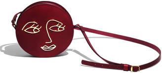 Paradise Row Love Leather Circle Shoulder Bag, Wine