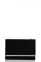 Quiz Black Velvet Textured Clutch Bag