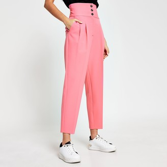 River Island Womens Pink high waist tapered trousers