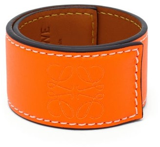 Loewe Paula's Ibiza - Anagram-debossed Leather Slap Bracelet - Orange