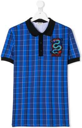 Kenzo short sleeve checked print polo shirt