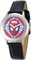 Marvel Spider-Man Kids Black Leather Strap Watch