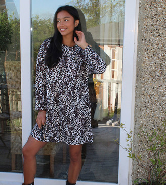 Asos DESIGN Petite smock mini dress in leopard print