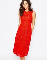 Warehouse Applique Lace Midi Dress