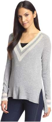 Cashmere Addiction Women's Tipped V-Neck Tunic Sweater