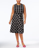 Charter Club Plus Size Grid-Print Belted Dress, Created for Macy's