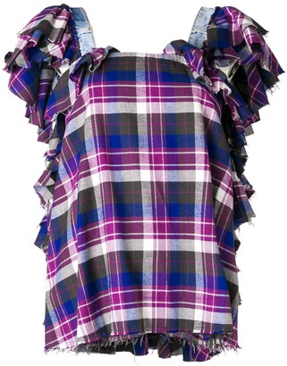Natasha Zinko plaid ruffled top