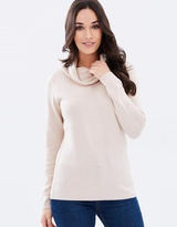 Privilege Ribbed Cowl-Neck Knit Jumper