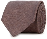 Eton Brown Herringbone Cotton Tie