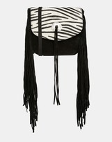 Asos Suede And Tassel Saddle Bag With Zebra Faux Pony Flap