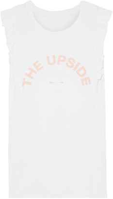 The Upside Ruffle-trimmed Printed Cotton-jersey Tank