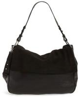 Topshop Premium Leather & Suede Hobo Bag - Black